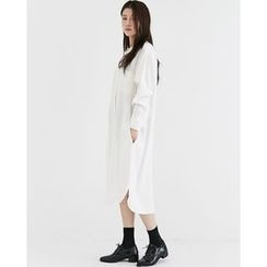 Someday, if - Collarless Pocket-Front Long Shirtdress