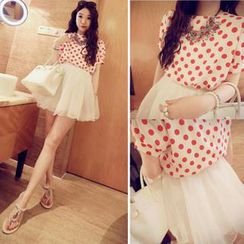 QZ Lady - Set: Short-Sleeve Polka Dot Top + A-Line Skirt