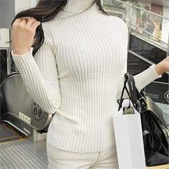 LIPHOP - Turtle-Neck Ribbed Knit Top