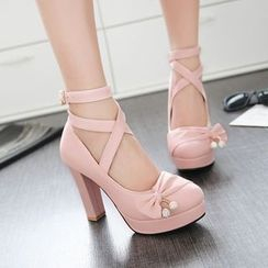 Pretty in Boots - Cross Strap Pumps