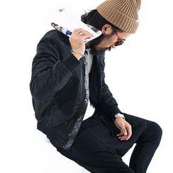 YIDESIMPLE - PU棒球領保暖棉衣