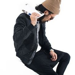 YIDESIMPLE - PU棒球领保暖棉衣