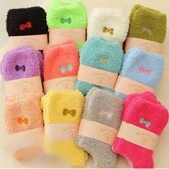 Miya - Bow Embroidered Fleece Socks