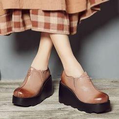 LARKSPUR - Genuine Leather Platform Wedge Shoes
