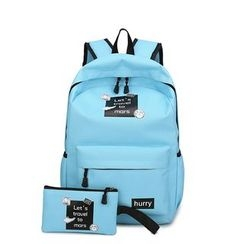 NEWLON - Set: Plain Applique Canvas Backpack + Pouch