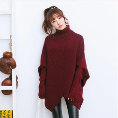 Hazie - Turtleneck Batwing-Sleeve Chunky Sweater