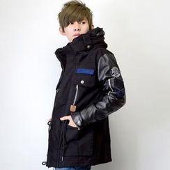 SeventyAge - Faux-Leather Patchwork Woolen Turtle-Neck Coat