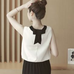 Munai - Sleeveless Contrast-Neck Bow-Accent Top