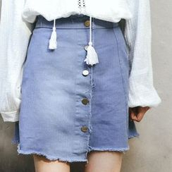 SUYISODA - Buttoned A-Line Skirt