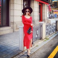Dabuwawa - Long-Sleeve Slit-Side Sheath Dress