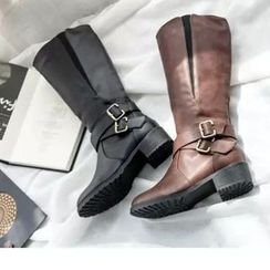 Zandy Shoes - Buckled Long Boots