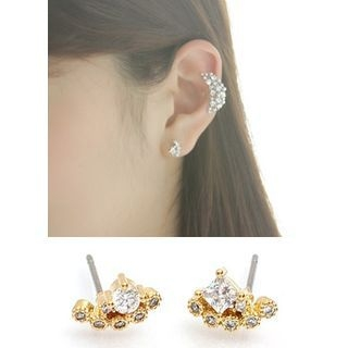 kitsch island - Rhinestone Studded Earrings