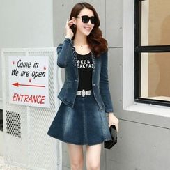 Romantica - Lace-Panel Denim Jacket / Tank Top / Denim Skirt