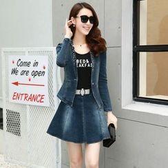 Romantica - Lace-Panel Denim Jacket / Tank Top / Denim Skirt