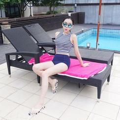Rachel Swimwear - 条纹高腰坦基尼泳衣