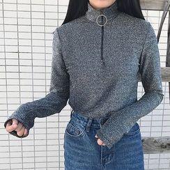 Cloud Nine - Mock-neck Long-Sleeve Zip T-shirt