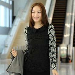 59th Street - Crochet Panel Long-Sleeved Blouse