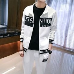 Danjieshi - Set: Lettering Zip Jacket  + Sweatpants