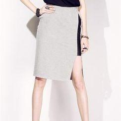 Moonbasa - Slit-Side Panel Midi Skirt