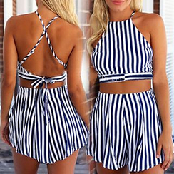 Aquello - Set: Stripe Cropped Halter Top + Stripe Shorts