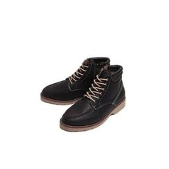 Ohkkage - Faux-Leather Lace-Up Boots