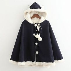 Musume - Fleece-Lined Hooded Cape Coat