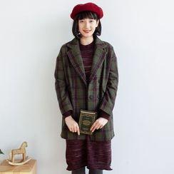 Forest Girl - Plaid Notch Lapel Snap-Button Jacket
