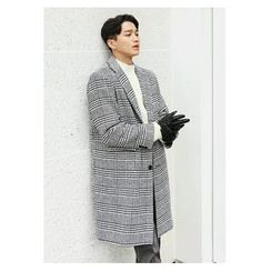 HOTBOOM - Wool Blend Glen-Check Coat