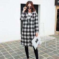 November Rain - Plaid Woolen Coat