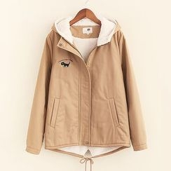 Mocha - Cat Embroidered Hooded Zip Jacket