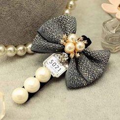 Suu - 蝴蝶结仿珍珠发夹