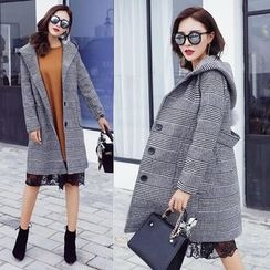 Ekim - Plaid Hooded Wool Coat