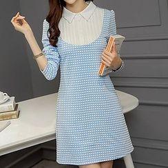Q.C.T - Long-Sleeve Plaid Panel Dress