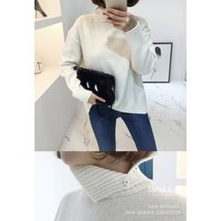 Miamasvin - Slit Turtle-Neck Wool Blend Sweater