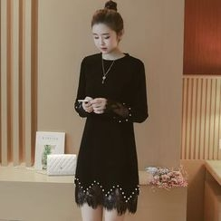 Munai - Long-Sleeve Lace Panel Beaded Dress
