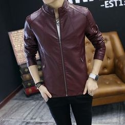 Best Gang - Stand-Collar Faux-Leather Zip Jacket