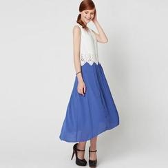 O.SA - Set: Cutout-Hem Top + Pleated Skirt