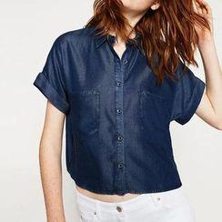 Chicsense - Short-Sleeve Denim Shirt