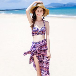 Morning Dew - Set: Patterned High-Waist Bikini + Cover-Up
