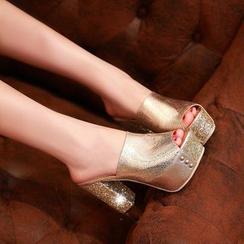 JY Shoes - Glitter Block Heel Mules