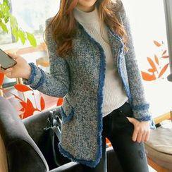 REDOPIN - Wool Blend Fringed Open-Front Jacket