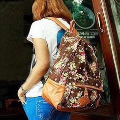 M.R. - Floral Canvas Backpack