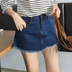 TriStyle - High-Waist Denim Skort