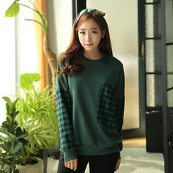CLICK - Plaid Pocket Sweatshirt
