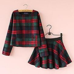 Munai - Set: Plaid Top + Skirt