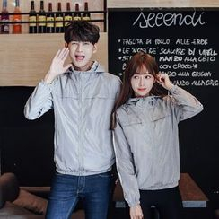 CASSY - Printed Hooded Zip Couple Matching Jacket