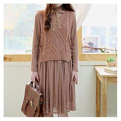 Sechuna - Set: Tie-Front Lace Dress + Lace-Up Knit Vest