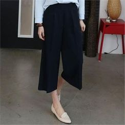 CHICFOX - Band-Waist Wide-Leg Pants