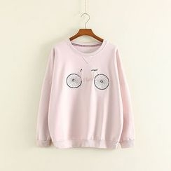 Mushi - Bicycle Embroidered Pullover