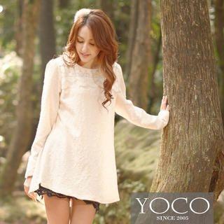 Tokyo Fashion - Lace-Yoke Textured Tunic